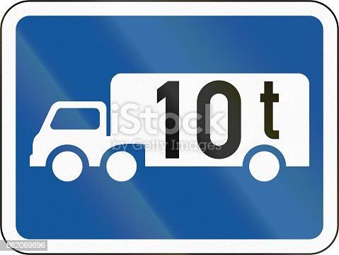istock Road sign used in the African country of Botswana - The primary sign applies to goods vehicles exceeding 10 tonnes GVM 862069696
