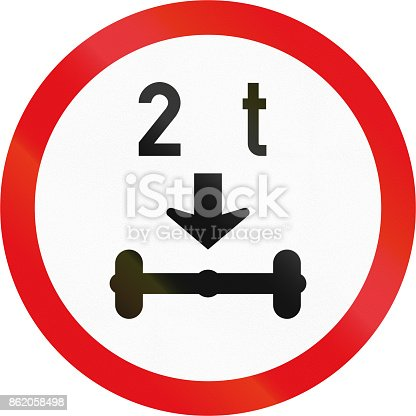 istock Road sign used in the African country of Botswana - Vehicles exceeding 2 tonnes on a single axle prohibited 862058498