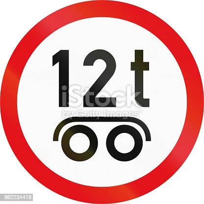 istock Road sign used in the African country of Botswana - Vehicles exceeding 12 tonnes on a tandem axle prohibited 862234418