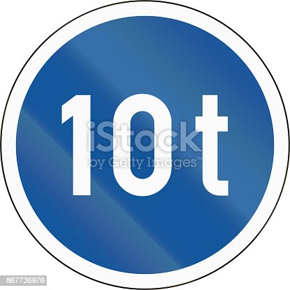 istock Road sign used in the African country of Botswana - Vehicles exceeding 10 tonnes only 867736976