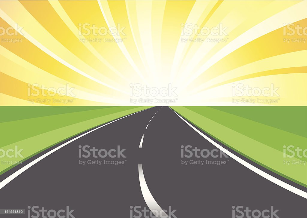 Road stretching away vector art illustration