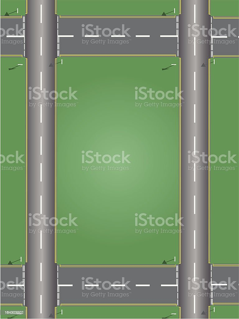 road system with junctions and signs royalty-free stock vector art