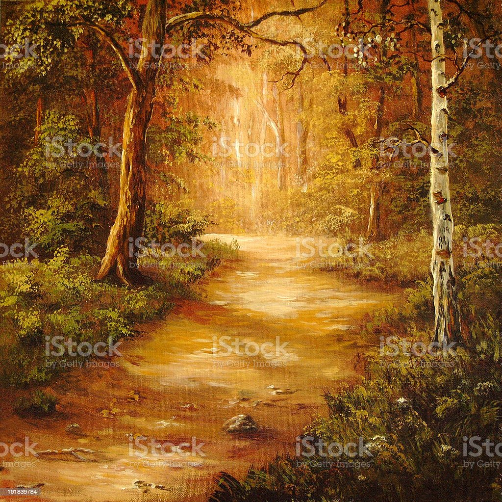 Road through a wood royalty-free stock vector art