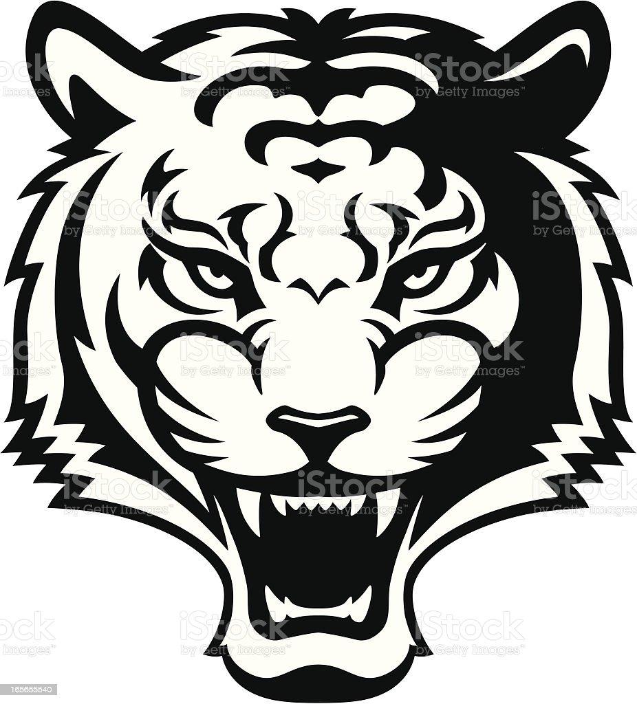 Roaring tiger B&W