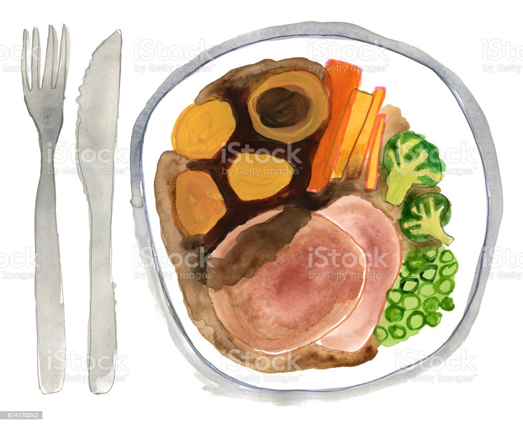 Roast beef and vegetables dinner plate vector art illustration