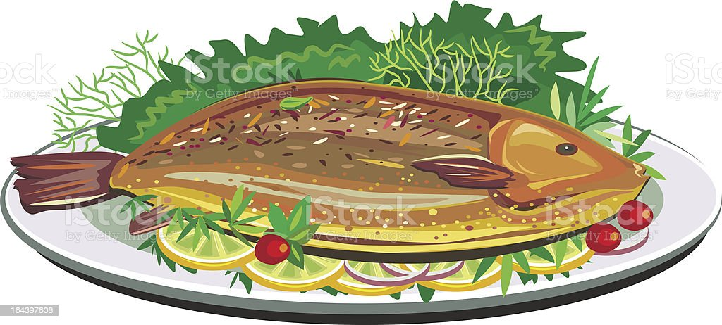 Roast fish on plate vector art illustration