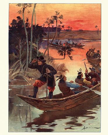 Vintage engraving of Rene-Robert Cavelier, Sieur de La Salle on the exploring the Mississippi River.