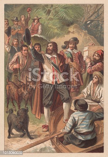 Robinson arrived back home. Lithograph after a drawing by Gustav Bartsch (German painter, 1821 - 1906) from the famous novel
