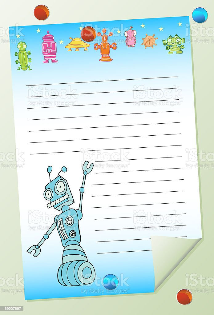 Robot Alien Posted Note royalty-free robot alien posted note stock vector art & more images of alien
