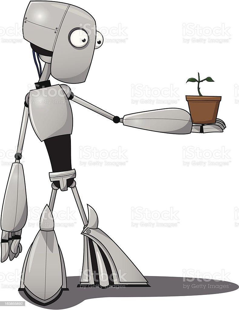 Robot amazed by flower vector art illustration