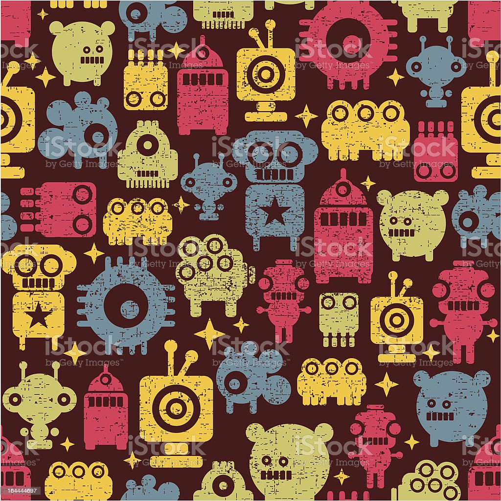 Robot and monsters cute seamless pattern. royalty-free stock vector art