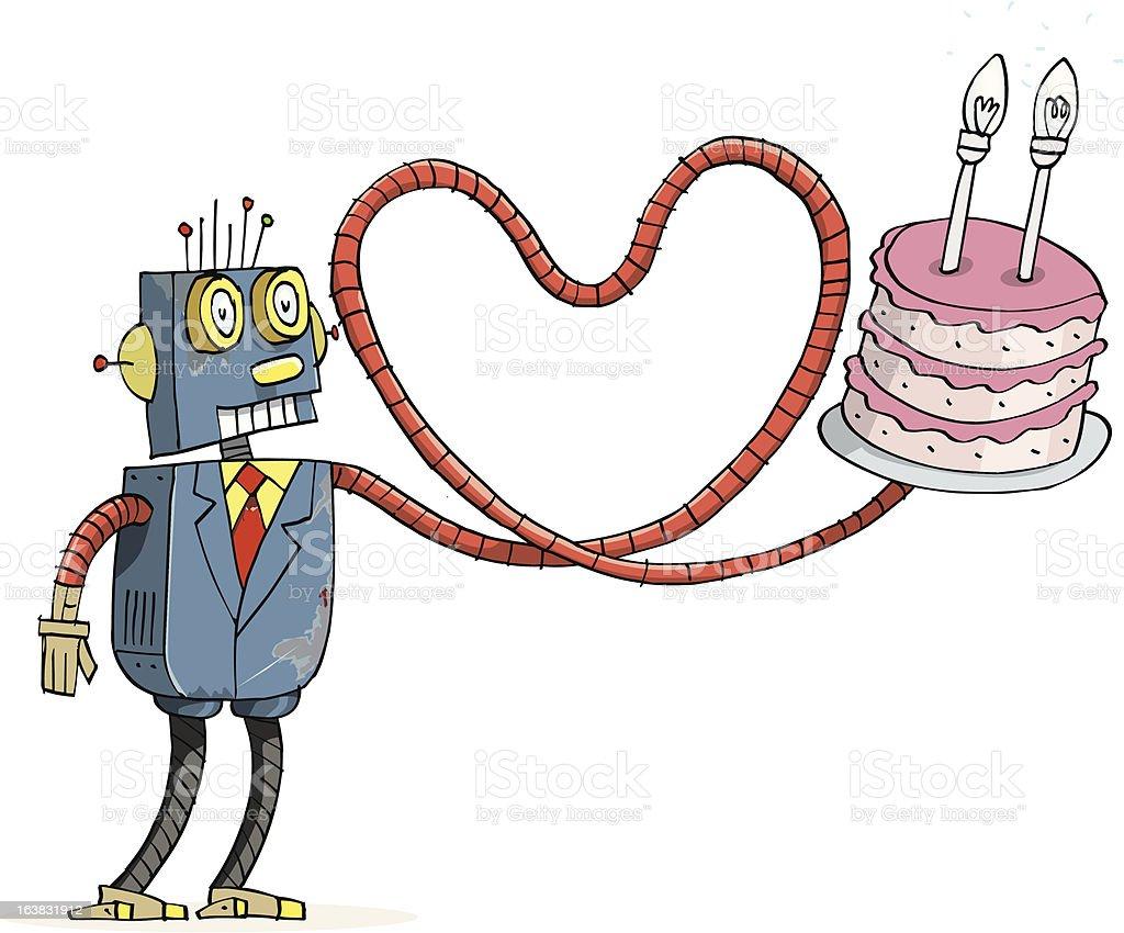Robot birthday vector art illustration