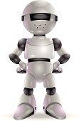 A silver and black cartoon robot.