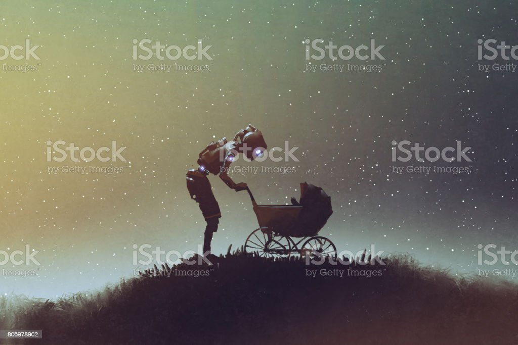robot looking at baby in a stroller against starry sky vector art illustration