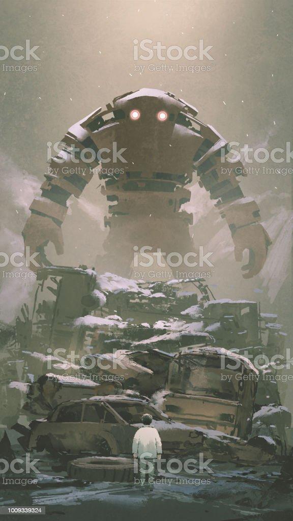 Robot Cocuk Asagida Ariyorsunuz Stok Vektor Sanati Abd Nin Daha