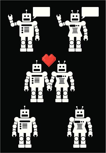 illustrazioni stock, clip art, cartoni animati e icone di tendenza di robot amore - love word