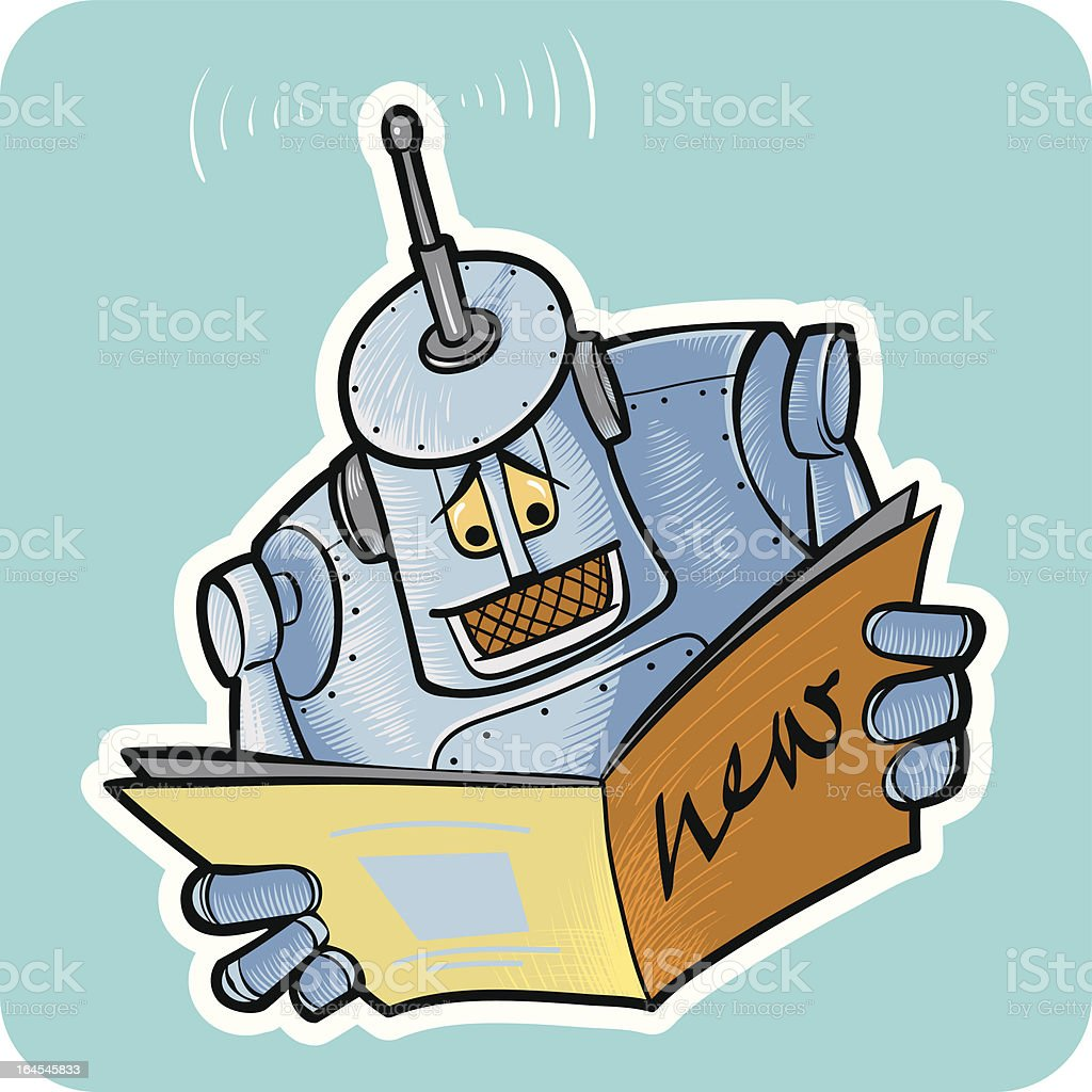Robot reads the news. royalty-free robot reads the news stock vector art & more images of antenna - aerial