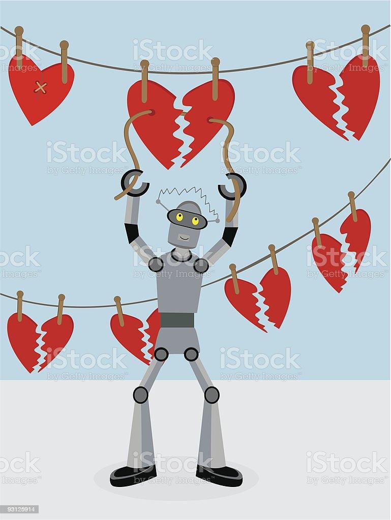Robot repairing broken hearts royalty-free stock vector art
