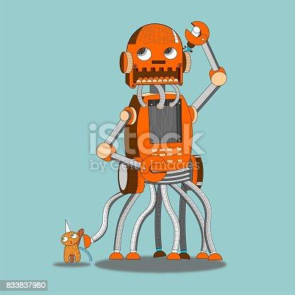istock Robot walk a pet 833837980