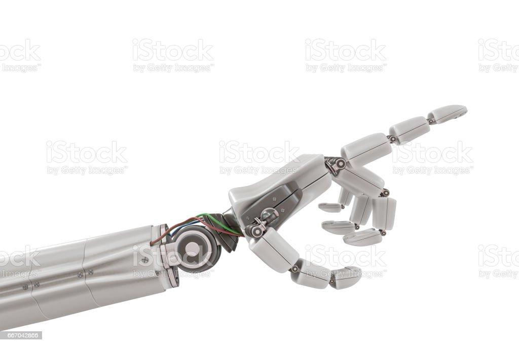 Robotic plastic hand isolated on white background. 3D rendered illustration. vector art illustration