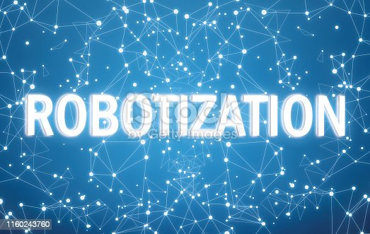 istock Robotization on digital interface and blue network background 1160243760