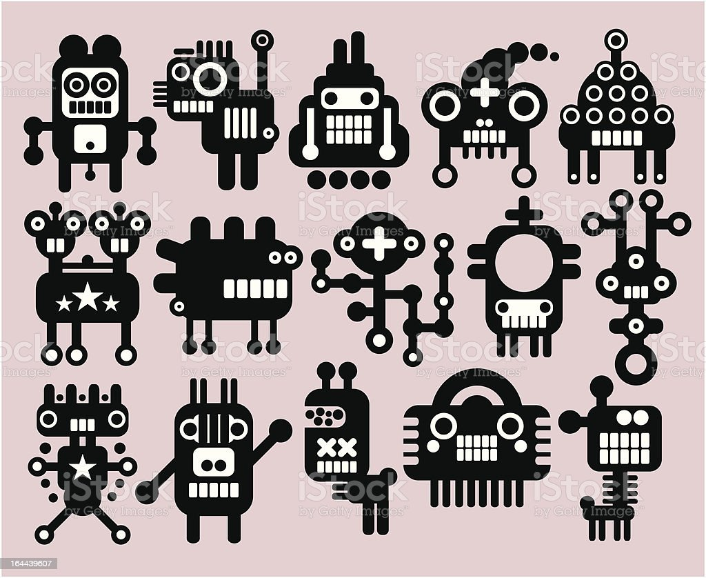 Robots, monsters, aliens set of many. royalty-free robots monsters aliens set of many stock vector art & more images of abstract