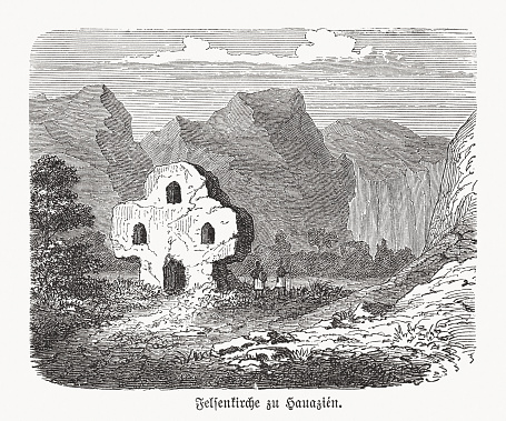 Rock church of Hauazién, Ethiopia, wood engraving, published in 1893