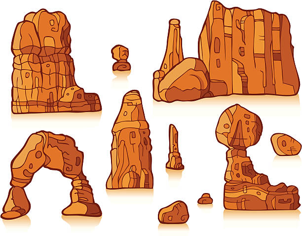Rock Formation in Color Several rock formations are depicted on a white background.  This is clip-art and is in color. delicate arch stock illustrations