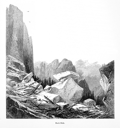 Very Rare, Beautifully Illustrated Antique Engraving of Rock Slide at Sentinel Rock, Yosemite Valley, Yosemite National Park, Sierra Nevada, California, American Victorian Engraving, 1872. Source: Original edition from my own archives. Copyright has expired on this artwork. Digitally restored.
