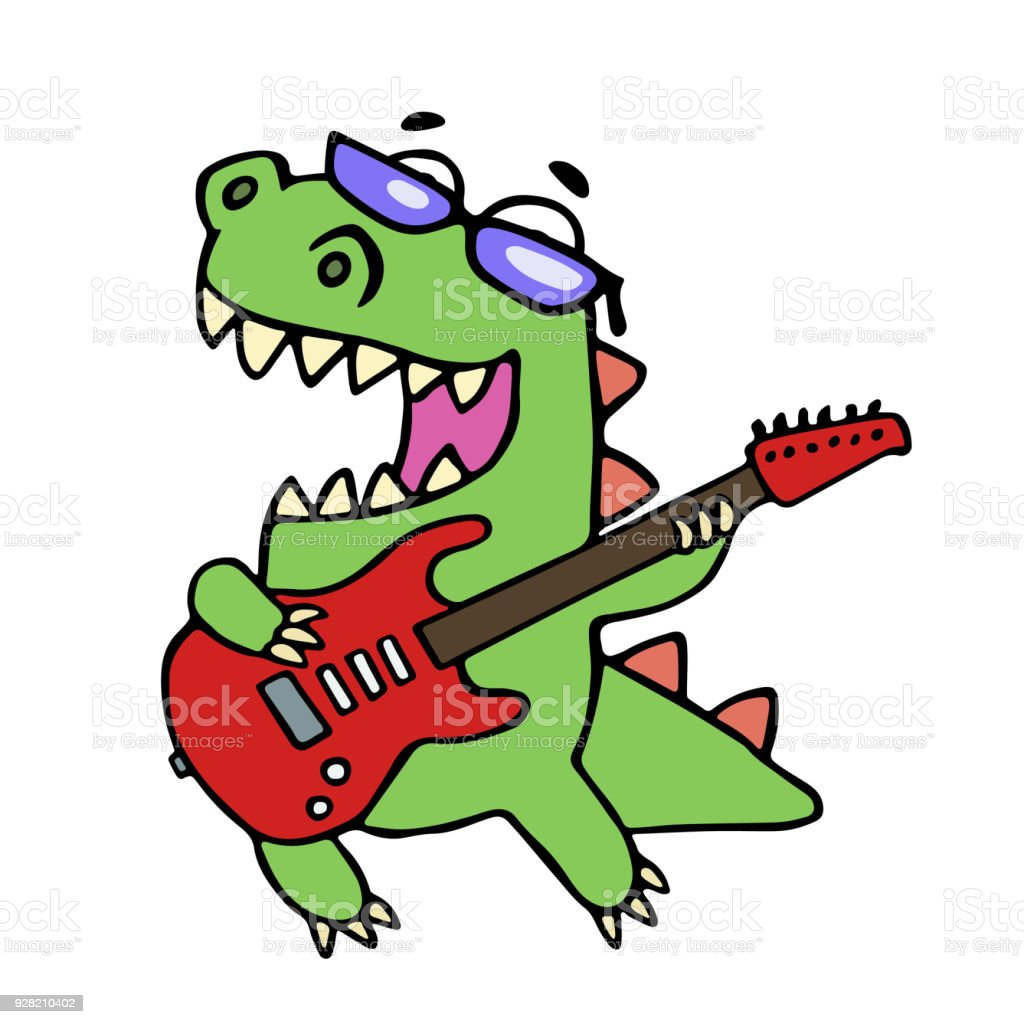 Rock Star Dinosaur Playing The Electric Guitar Royalty Free