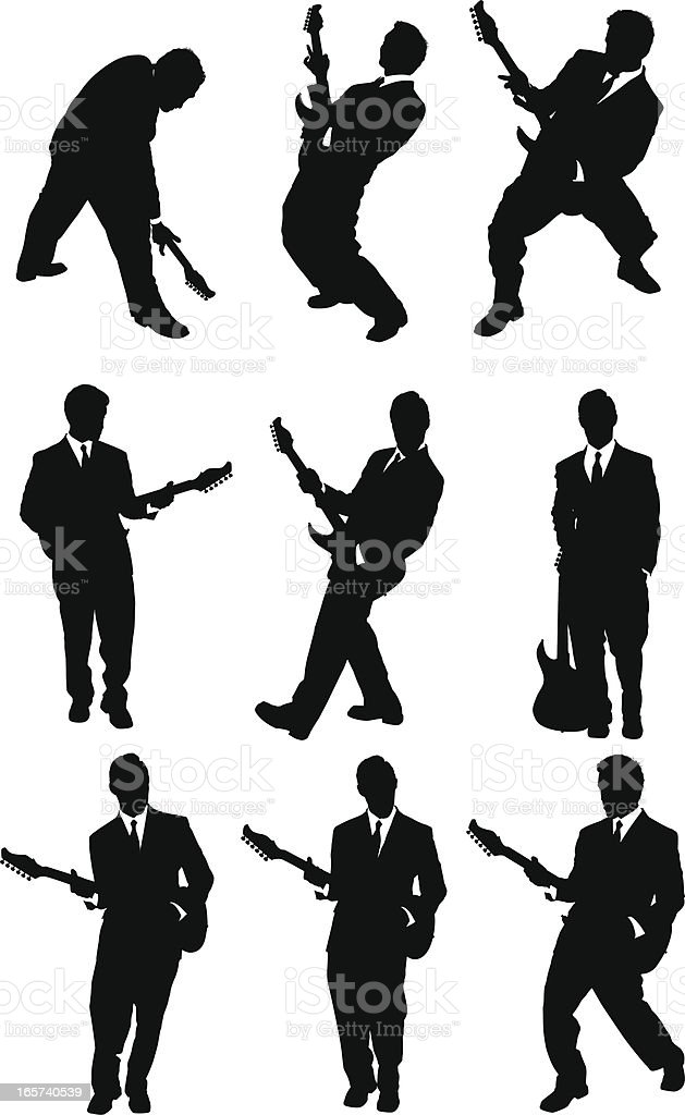 Rock star playing guitar in a business suit royalty-free stock vector art