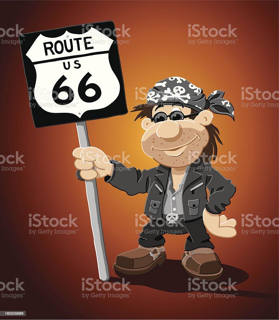 Rocker Cartoon Man Route 66 Road Sign vector art illustration