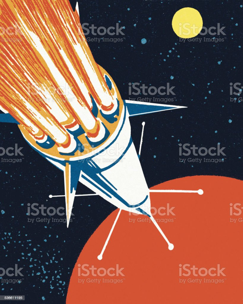 Rocket in Outer Space vector art illustration