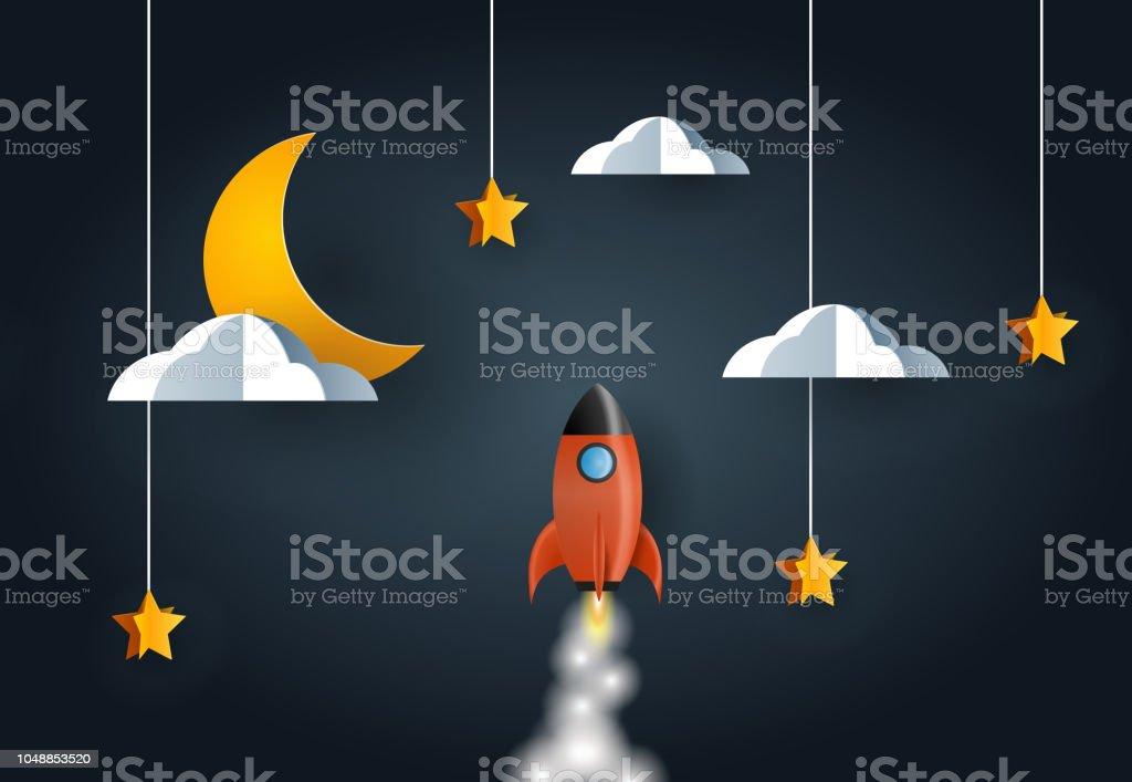 Rocket launch over night sky vector art illustration