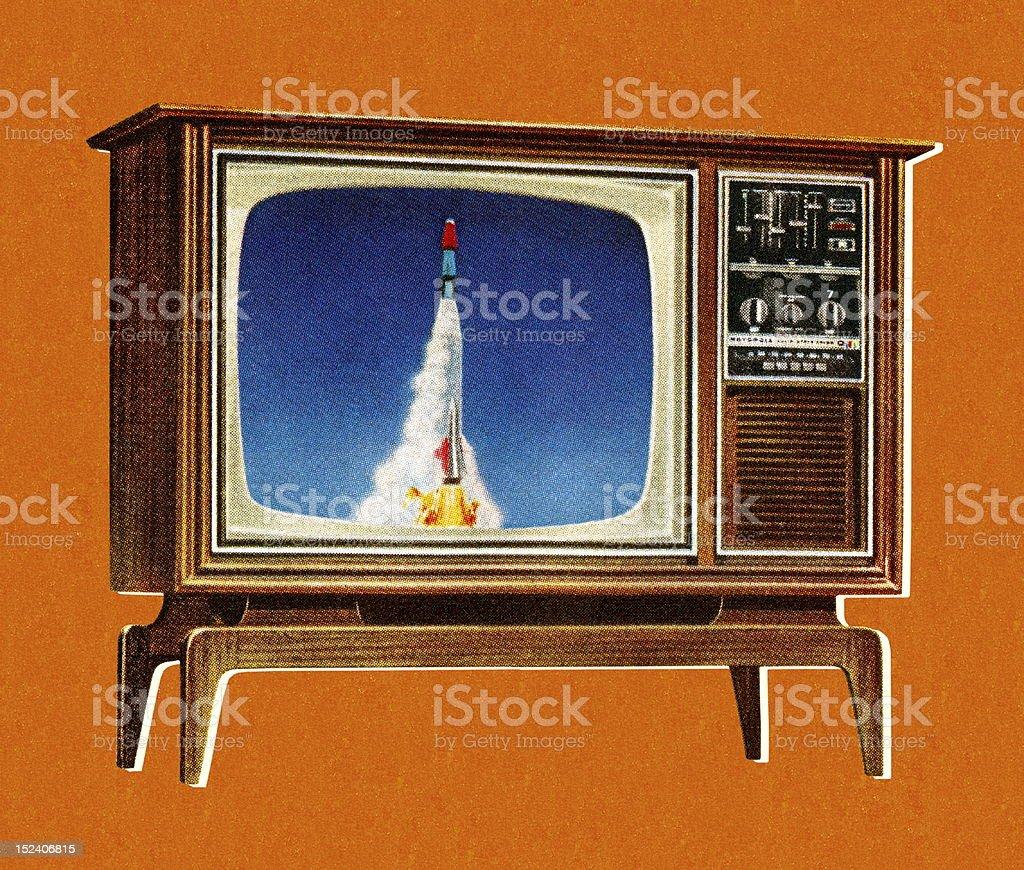 Rocket en televisión - ilustración de arte vectorial