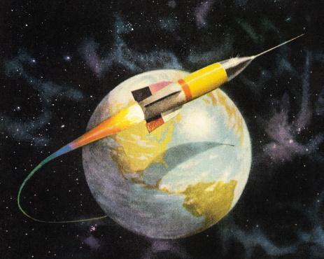 Rocket Orbiting the Earth