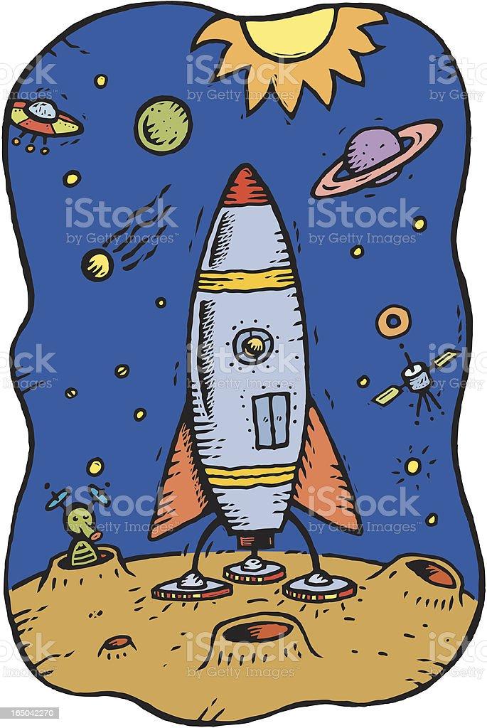 Rocket ship vector art illustration