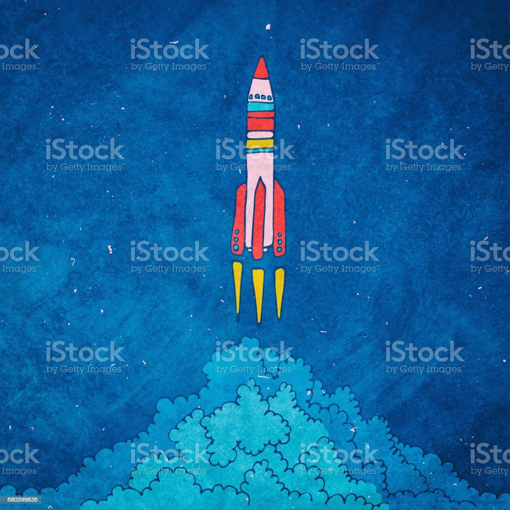 Rocket sketched  illustration with clouds vector art illustration