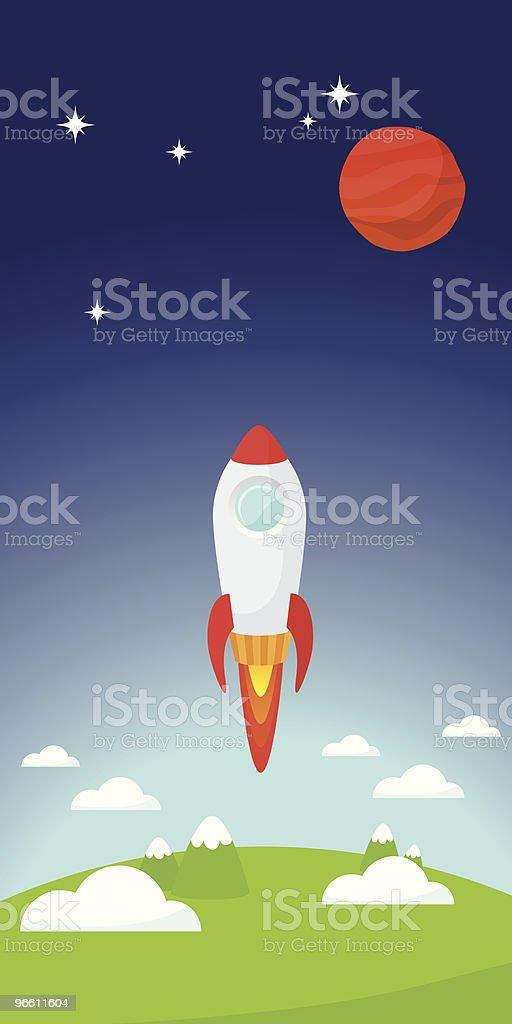 Rocket despegar - arte vectorial de Aire libre libre de derechos