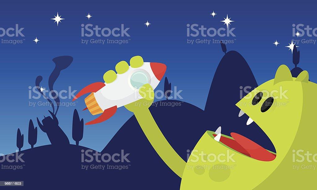 Rocket-eating monster royalty-free stock vector art