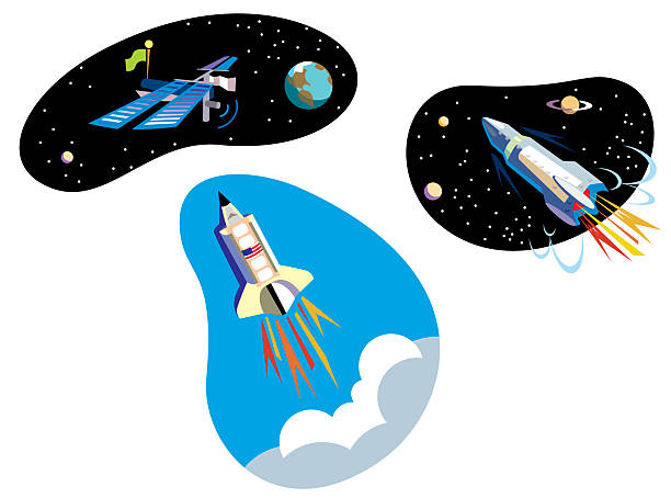 rocketships vector art illustration