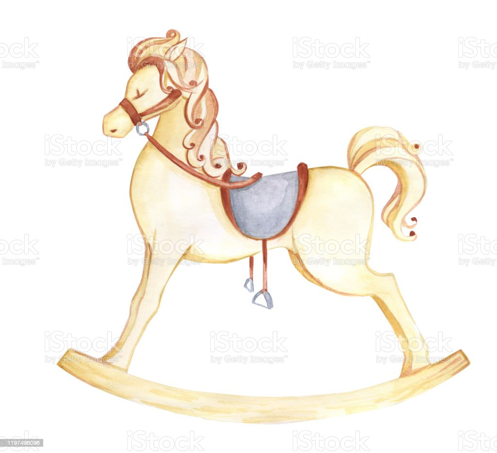 Rocking Horse Watercolor Illustration For Children The Rocking Horse Watercolor Childrens Toy Stock Illustration Download Image Now Istock
