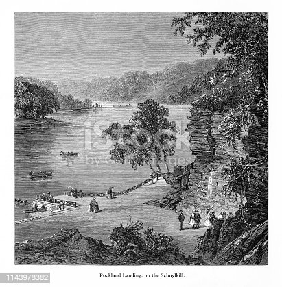 Very Rare, Beautifully Illustrated Antique Engraving of Rockland Landing on the Schuylkill, Philadelphia, Pennsylvania, United States, American Victorian Engraving, 1872.