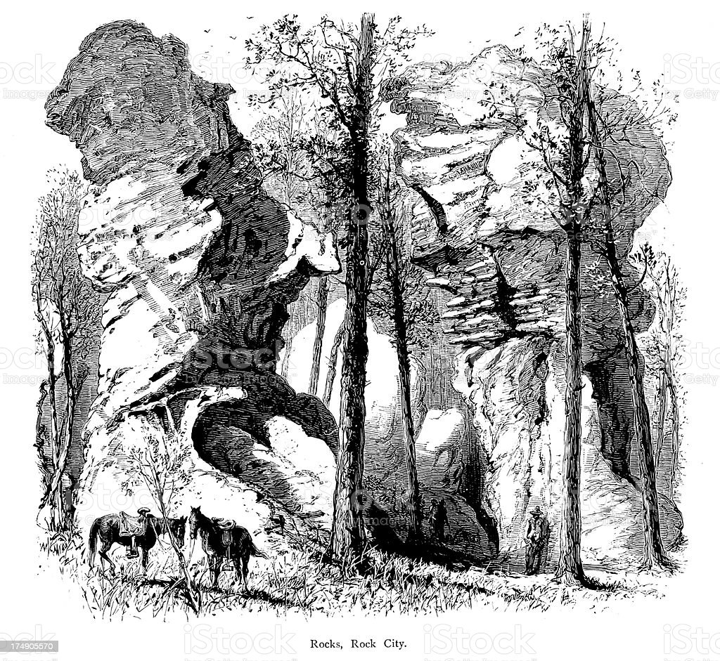 Rocks In Rock City Lookout Mountain Usa Stock Illustration