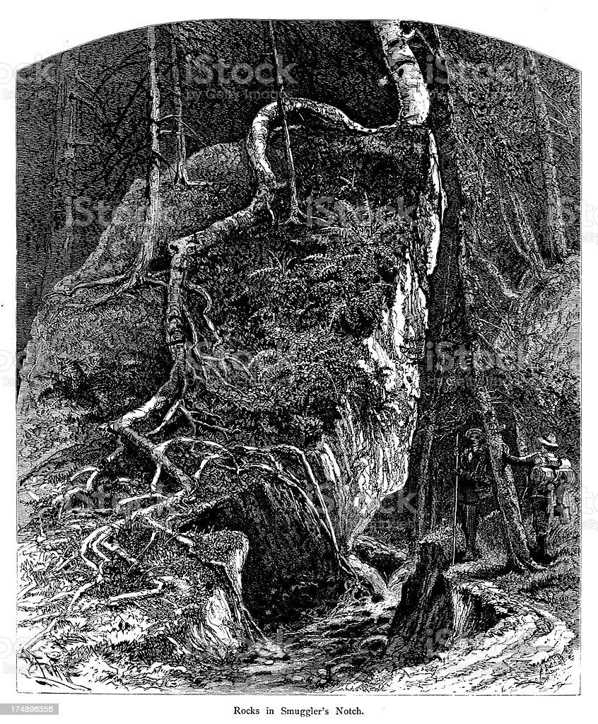 Rocks in Smugglers' Notch, Vermont vector art illustration