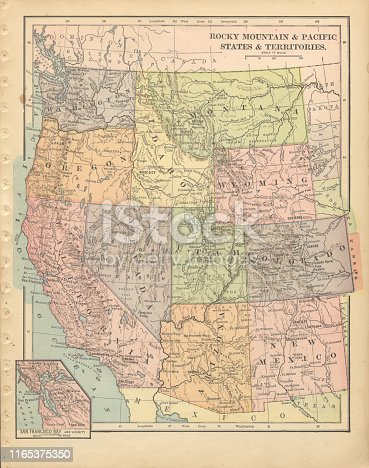 Very Rare, Beautifully Illustrated Antique Victorian Engraved Colored Map of The Rocky Mountain and Pacific States and Territories of the United States of America, Published in 1899. Source: Original edition from my own archives. Copyright has expired on this artwork. Digitally restored.