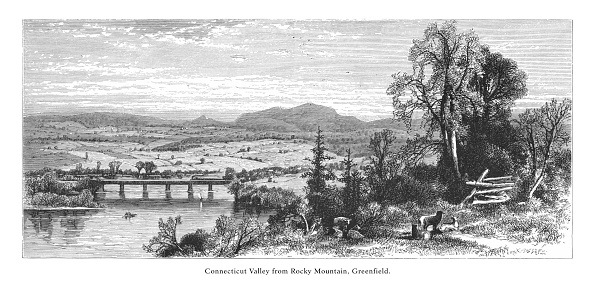 Rocky Mountain, Greenfield, Connecticut River, Valley of the Connecticut, Massachusetts, United States, American Victorian Engraving, 1872