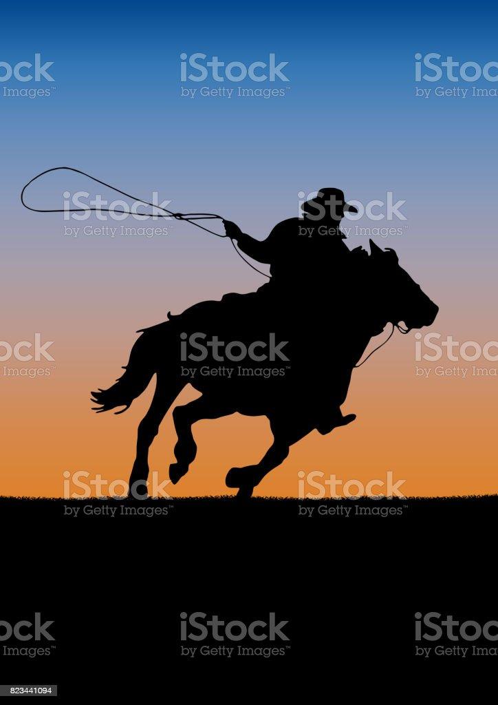 Torneio de competição de rodeio, fundo por do sol.  cowboy de cartaz e laço no cavalo - ilustração de arte em vetor