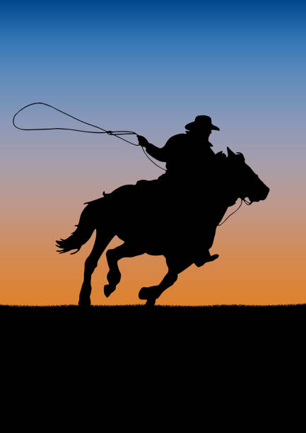 rodeo competition tournament, sunset background.  poster cowboy and lasso on the horse - rodeo stock illustrations, clip art, cartoons, & icons