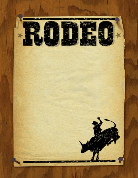 rodeo poster - retro background - rodeo stock illustrations, clip art, cartoons, & icons